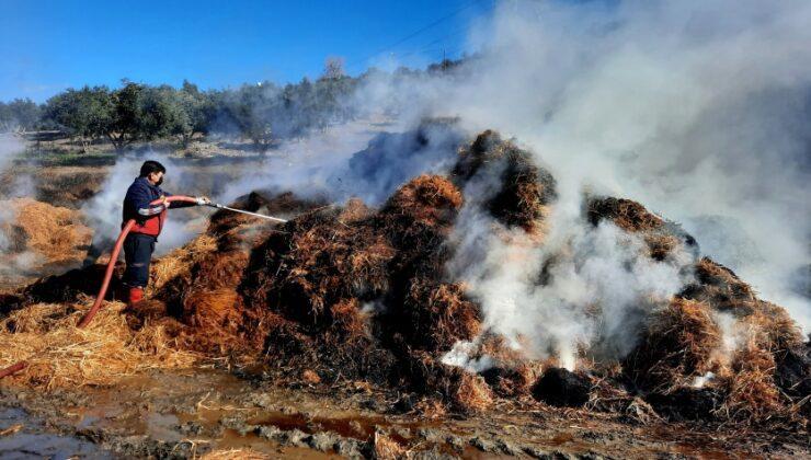 hayvan çiftliğinde çıkan yangında tonlarca saman kül oldu