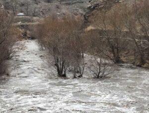 kars çayı taştı, ağaçlar sular altında kaldı