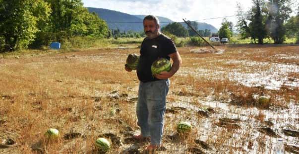 yaşanan sel felaketi karpuz tarlasını da vurdu