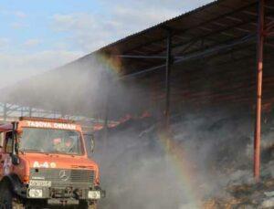 taşova'da besi çiftliğinde yangın çıktı